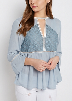 Lace Yoke Peasant Top By Sadie Robertson X Wild Blue