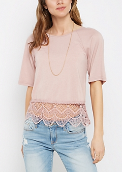 Scalloped Crochet Tee By Sadie Robertson X Wild Blue