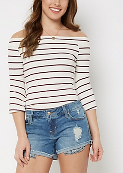 Striped Off-Shoulder Shirt By Sadie Robertson X Wild Blue