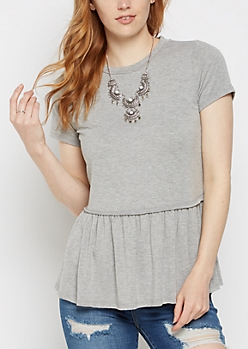 Heather Gray Peplum Tee