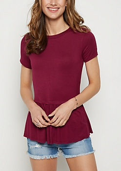 Purple Peplum Tee