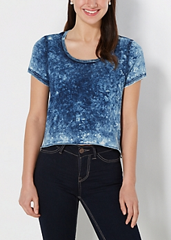 Acid Wash High Low Boxy Tee