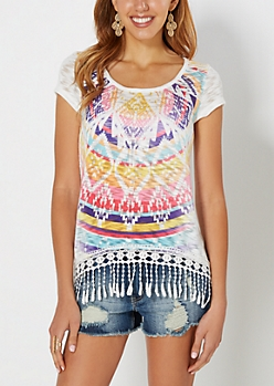 Aztec Crochet Hem Slub Knit Top