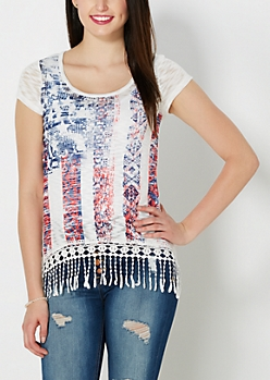 Americana Crochet Hem Slub Knit Top