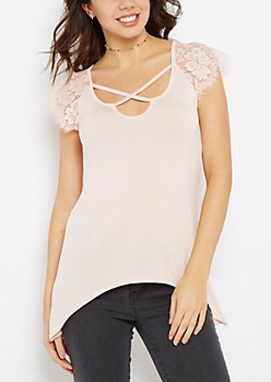 Pink Lace Cross-Strap Tee