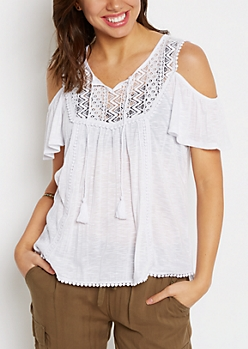 Ivory Ladder Crochet Cold Shoulder Top