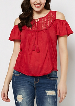 Red Ladder Crochet Cold Shoulder Top