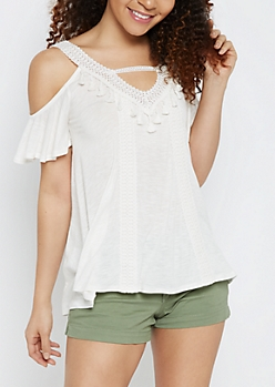 Ivory Cold Shoulder Tasseled Top