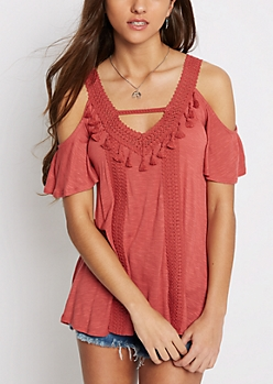 Coral Cold Shoulder Tasseled Top