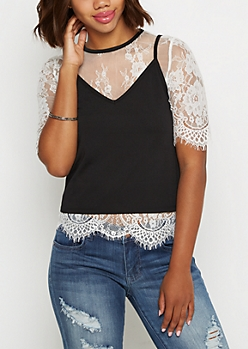 White Eyelash Lace Tee & Cami
