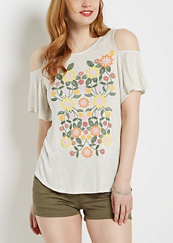 Floral Puff Print Cold Shoulder Tee