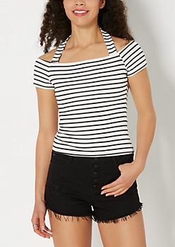 Striped Halter Off-Shoulder Top