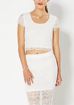 Ivory Cropped Lace Top