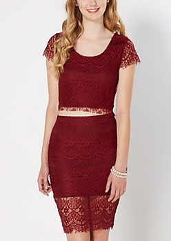 Burgundy Cropped Lace Top