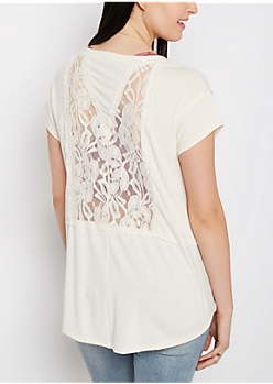 Ivory Lace Inset High-Low Tee