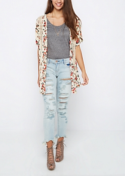 Ivory Floral Crochet Cocoon Wrap