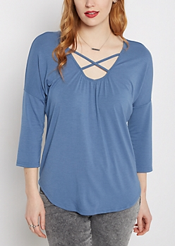Deep Blue Caged V-Neck Shirttail Top