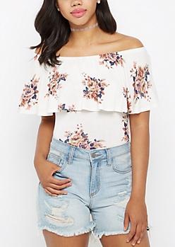 Rosy Flounce Off-Shoulder Top