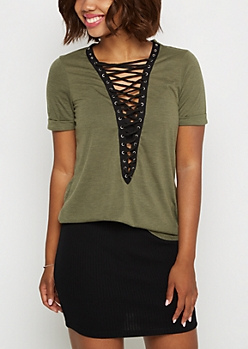 Olive Grommet Lace-Up Tee