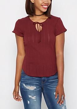 Burgundy Ribbed Tee