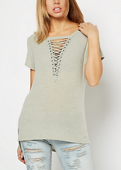 Light Green Striped Lace-Up Tee