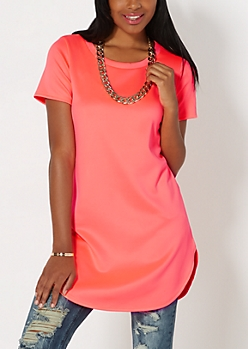 Neon Fuchsia Workday Chic Tunic Top