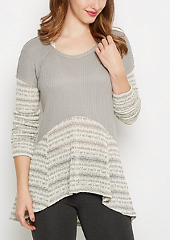 Gray Striped High-Low Thermal Tunic