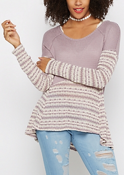 Purple Striped High-Low Thermal Tunic
