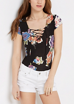 Black Watercolor Floral Lace-Up Bodysuit