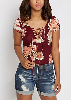 Burgundy Watercolor Floral Lace-Up Bodysuit