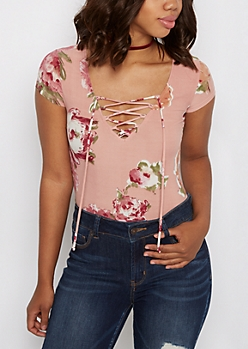 Pink Watercolor Floral Lace-Up Bodysuit