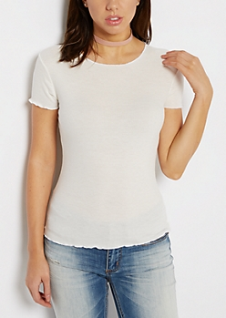 White Ribbed Lettuce Edge Tee
