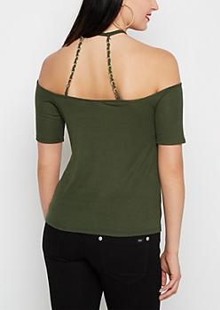 Olive Chain Strap Cold Shoulder Top
