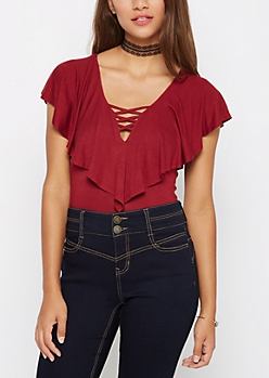 Burgundy Ruffled Off Shoulder Crop Top