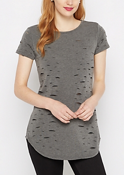 Charcoal Ripped Terry Tunic Tee