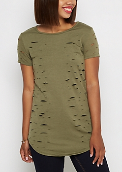 Olive Ripped Terry Tunic Tee