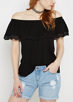 Black Crochet Flounce Off-Shoulder Top