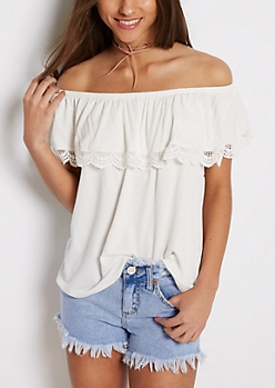 White Crochet Flounce Off-Shoulder Top