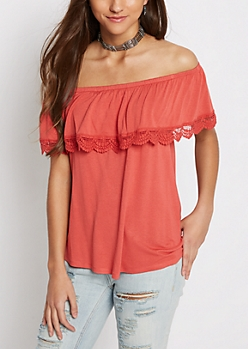 Coral Crochet Flounce Off-Shoulder Top