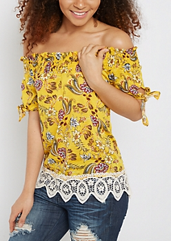 Floral Crochet Trim Off-Shoulder Top
