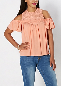 Coral Lace Yoke Off-Shoulder Swing Tank by Clover + Scout®