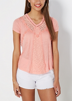 Coral Victorian Lace Tee by Clover + Scout®
