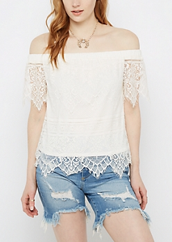 White Eyelash Lace Off-Shoulder Top