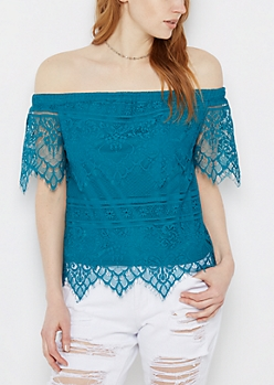Turquoise Eyelash Lace Off-Shoulder Top