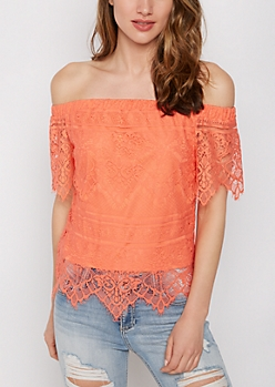 Coral Eyelash Lace Off-Shoulder Top