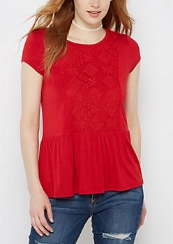 Red Geo Lace Peplum Tee