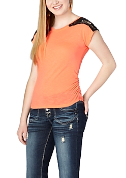 Neon Orange Crochet Cold Shoulder Tee