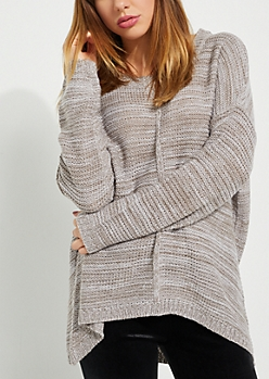 Heather Gray High Low Ribbed Front Sweater