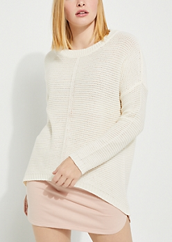 Ivory High Low Ribbed Front Sweater