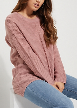 Duster Pink High Low Ribbed Front Sweater